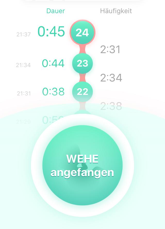 Screenshot der App zum Wehen zählen