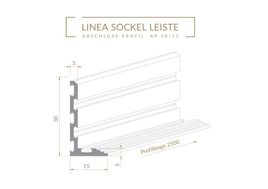 Linea Profil AP 30/15 für flächenbündige Sockelleisten bei Fliesen